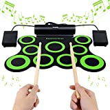 BONROB Electronic Drum Set,Drum Pad Support DTX Games Foldable Roll Up Drum Kit
