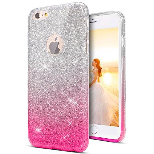KunyFond Glänzend Glitzer Schutzhülle Silikon Hülle Kratzfeste Crystal Clear TPU Handyhülle Case Durchsichtig Transparent Weichem Tasche Bumper Schale für iPhone 6/6S (Gradient rosa)