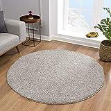 Impression Teppich Rund - Perfect Teppiche fürs Wohnzimmer, Flur, Schlafzimmer, Kinderzimmer, Babyzimmer - Hochwertiger Öko-Tex Zertifizierter Flächenteppich - Solid Color Hellgrau - 120 cm Rund