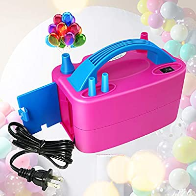 Anordsem Balloon Pump Electric Air Portable Dual Nozzles Balloon Inflator Devices 120V-60HZ 600W Pastel Balloon Blower for Decoration/Birthday/Party/Wedding (Rose Red)