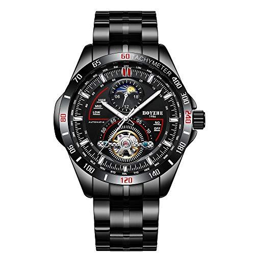 BOYZHE Reloj mecánico automático para hombre, luminoso, de lujo, de piel, para negocios, de moda, casual, con cuerda automática, de acero inoxidable, para deportes