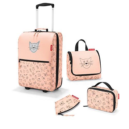 Zeer mooie Reisenthel reisset voor kinderen 4-delig. : cosmeticatas (toilettas S), reiskoffer/trolley, isotas (thermocase) en kleine portemonnee in de trendy designs kat en hond roze