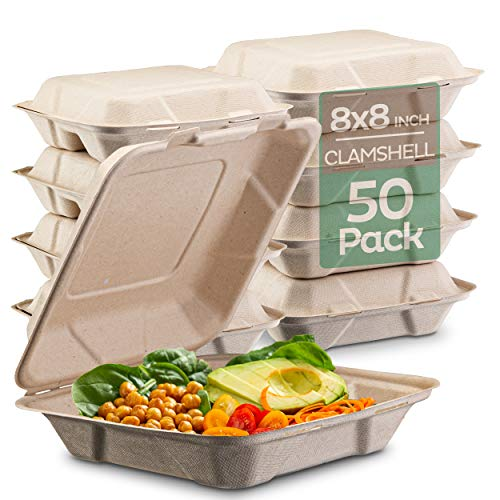 100% Compostable Clamshell Take Out Food Containers [8X8' 50-Pack] Heavy-Duty Quality to go Containers, Natural Disposable Bagasse, Eco-Friendly Biodegradable Made of Sugar Cane Fibers