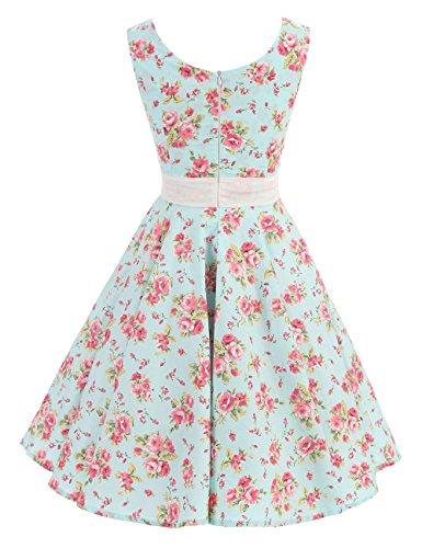 VKStar Retro Kleider Damen 50er 60er Vintage Kleider sommer ärmellos Rockabilly Abendkleid Hellgrün S - 2
