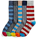 Amazon Brand - Goodthreads Men's 5-Pack Patterned Socks, Assorted Stripes, One Size