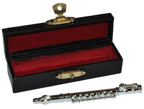 alles-meine.de GmbH Querflöte mit Kasten - Metall Miniatur Maßstab 1:12 - Puppenhaus Flöte - Musikinstrument Musik Instrument Flöten Orchester