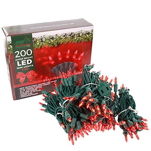 Super Bright LED Home Wedding Christmas Garden Party Decorative String Lights Set - Red - 200-Piece - 54 ft Lighted Length, Connect up to 15 Sets - Indoor / Outdoor Seasonal Mini Pack