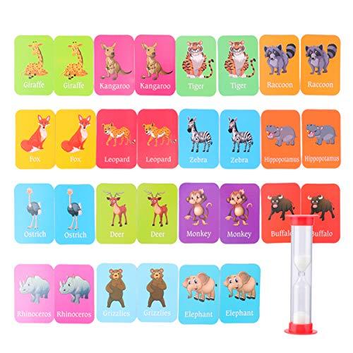 TOYANDONA Baby Training Matchkarten Tiererkennungskarten Speicher Matching Kartenspiel Pädagogische Wörter Lernen Montessori Spielzeug