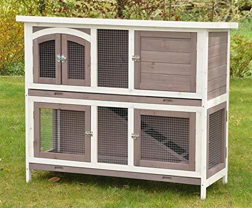 nanook Balu System-Hasenstall, doppelstöckiger Kaninchenstall zum Kombinieren für Kleintiere, wetterfester Holz-Kleintierstall, 120 x 50 x 104 cm