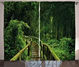 ABAKUHAUS Selva Cortinas, Tailandia Tropical Bosque, Sala de Estar Dormitorio Cortinas Ventana Set de Dos Paños, 280 x 175 cm, Verde