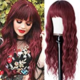 Vigorous Wine Red Wig with Bangs Burgundy Long Loose Curly Wavy Wigs for Women Girl's Synthetic Heat Resistant Wig for Cosplay Party Use