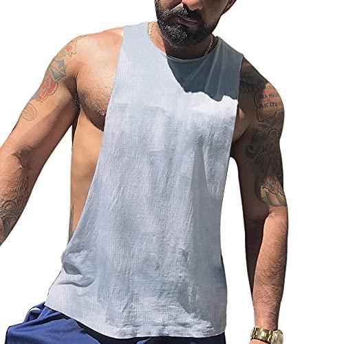GYMAPE Uomo Giromanica Asciugatura Veloce Canotta per Bodybuilding Allenamento Camicie Muscolose Senza Maniche Color White Size M