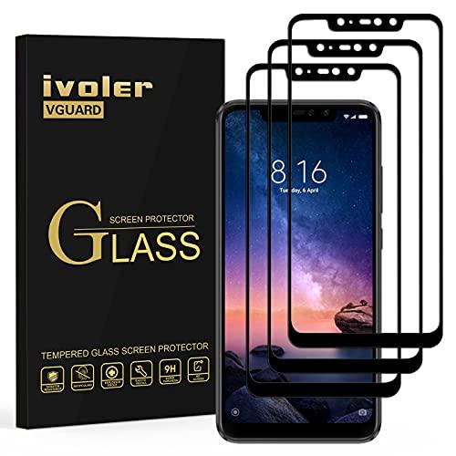 ivoler [3 Unidades] Protector de Pantalla para Xiaomi Redmi Note 6 Pro, [Cobertura Completa] Cristal Vidrio Templado Premium, [Dureza 9H] [Anti-Arañazos] [Sin Burbujas]