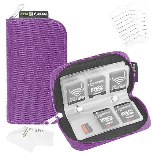 Eco-Fused Funda para Tarjeta de Memoria – Se Adapta a 22x SD, SDHC, Micro SD, Mini SD y 4X CF- Soporte con 22 Ranuras (8 páginas) – para Almacenamiento y Viaje