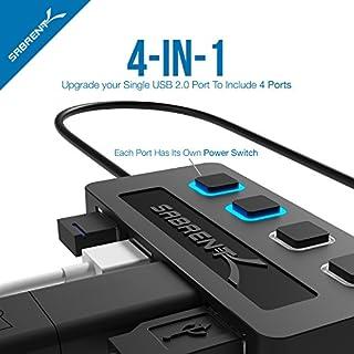 عروض Sabrent 4-Port USB 2.0 Hub مع مفاتيح