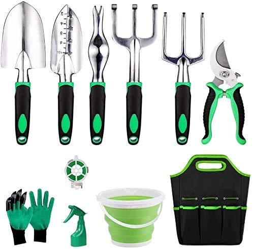 MeMoreCool Set da 11 attrezzi da giardino, in alluminio, set di attrezzi da giardino, palette, rastrello, spray e spruzzatore da giardino, set regalo con custodia (verde)