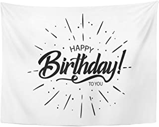 Tarolo Decor Wall Tapestry Happy Birthday to You Beautiful Greeting Lettering Inscription Holiday Phrase Black Text Word Fireworks 80 x 60 Inches Wall Hanging Picnic for Bedroom Living Room Dorm