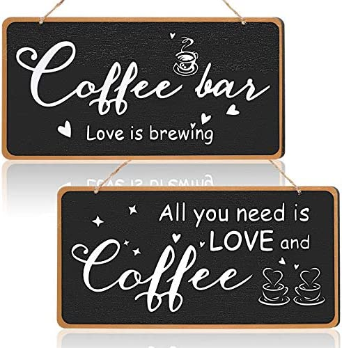 Jetec 2 Pieces Coffee Bar Sign Rustic Wood Coffee Sign Pantry Kitchen Decoration Chalkboard product image