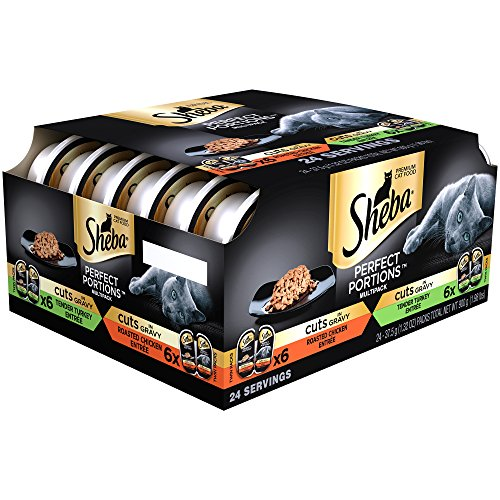 Sheba Perfect Portions Wet Cat Food Cuts In Gravy Roasted Chicken Entrée & Tender Turkey Entrée Variety Pack, (12) 2.6 Oz. Twin-Pack Trays