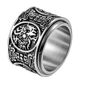 JewelryWe Schmuck Retro Herren-Ring Edelstahl Uralte 4 Wächter Bestien Chinesisch Mythologie Ringe Drehbar Bandring Band mit Gravur Größe 65