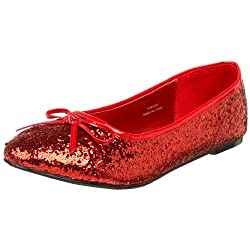 Red Glitter Star-16G Flat Shoes