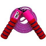 oFami Corde à Sauter,Jump Skipping Ropes avec Compteur et Poignées Confortables Anti-dérapantes Réglable Câble pour Fitness, Boxe, Adulte, Garcon,Fille, Gym Brûler des Calories.