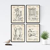 Nacnic Vintage Eismaschine Patent Poster 4-er Set. Vintage