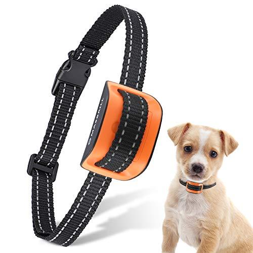 MASBRILL Collar Antiladridos para Perros Pequeños y Medianos y Grande con Sonido y Vibración, Collares Anti ladridos Dispositivo 7 Niveles de Sensibilidad Ajustables - Naranja