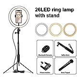 10 Inchs Fotografía trípode Anillo de luz LED de la lámpara Stand de Outube vídeo en Directo 3300-5500k Estudio Selfie palillo de luz del Anillo (Color : 26cm Lamp Set)