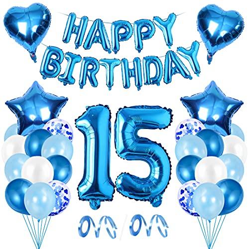 15 Años Decoracion Cumpleaños Azules,Decoracion Cumpleaños Niño,Globo 15 Años,Decoracion Fiesta 15 Cumpleaños,Globos 15 Años Cumpleaños,Decoracion Cumpleaños Azules Globos