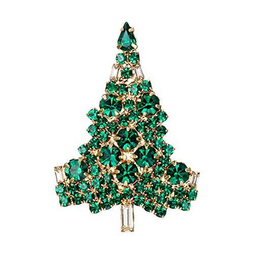 [エバーフェイス] EVER FAITH ブローチ クリスマスツリー クリスタル グリーン ゴールドトーン
