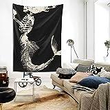 Mermaid Skeleton Wall Hanging Tapestries Black & White Wall Blanket Wall Art for Living Room Bedroom Home Decor 80' X 60'
