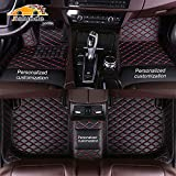 Custom Car Floor Mats fit for 95% All Weather Diamond Luxury Leather Carpet, Waterproof Non-Slip Automotive Floor Mats Full Coverage Protection Floor Liners Personalized Black Red
