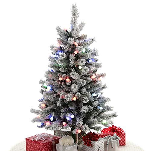 Hallmark Keepsake Sound-A-Light Bluetooth Musical Flocked Christmas Tree With Sound and LED Light Show, 4'