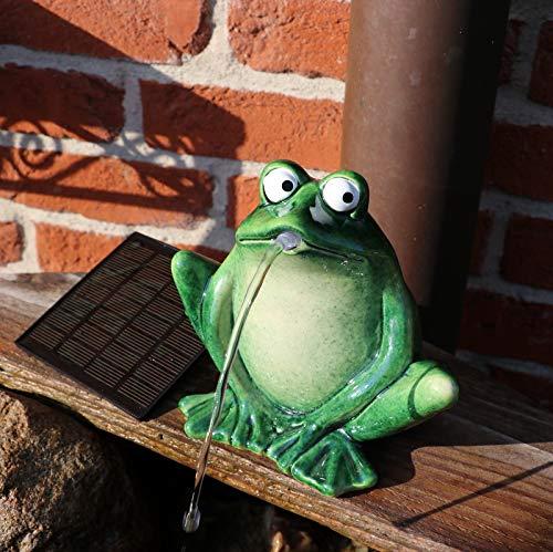 Gartenzaubereien Wasserspeier Frosch dunkelgrün, Keramik, Solarpumpe