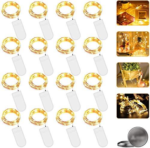 Nasharia LED Lichterkette mit Batterie, 16 Stück 2 Meter 20er Micro Kupfer Lichterkette IP65 Wasserdicht Warmweiß Dekorative Lichterkette String Beleuchtung Ambiente für Party Garten Hochzeit