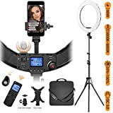 """Ring Light with Wireless Remote and iPad Holder, Pixel 19"""" Bi-Color Ring Light with Stand,60W 3000-5800K CRI≥97 Light Ring with USB QC 3.0 for YouTube Live Stream Self-Portrait Video Shooting"""