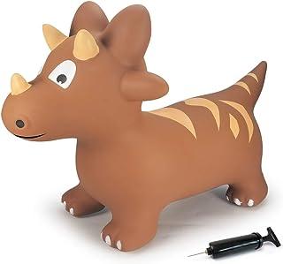 Jamara- Dino con Bomba. Promueve el Sentido del Equilibrio y Las Habilidades motrices, Las Orejas de Animales sirven como Soporte, Resistente, fácil de Limpiar, hasta 50 kg, Color marrón (460591)