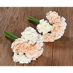 Nument(TM Silk Artificial Carnation Flowers Real Touch Flowers 2 Bouquets for Wedding Bridal Bridesmaid Home Decoration