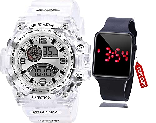 Acnos Brand - A Digital Watch with Square LED Shockproof Multi-Functional Automatic Black Dial White Strap Waterproof Digital Sports Watch for Men's Kids Watch for Boys - Watch for Men Pack of 2