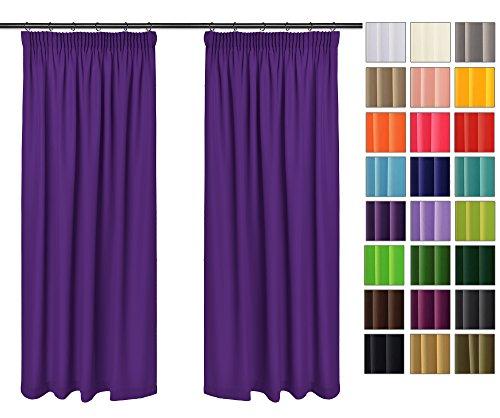 Rollmayer Vorhänge mit Bleistift Kollektion Vivid (Violett 18, 135x260 cm - BxH) Blickdicht Uni einfarbig Gardinen Schal für Schlafzimmer Kinderzimmer Wohnzimmer
