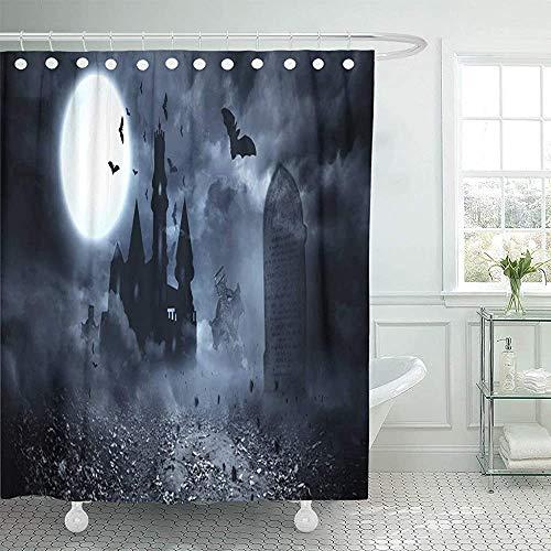 Babydo Duschvorhang Furchterregende Digital Erzeugte Fledermäuse, Die Nach Draculas Castle Fliegen Vampire Moon Graveyard Halloween Haunted Full 183X183Cm Standard Duschvorhang Pri