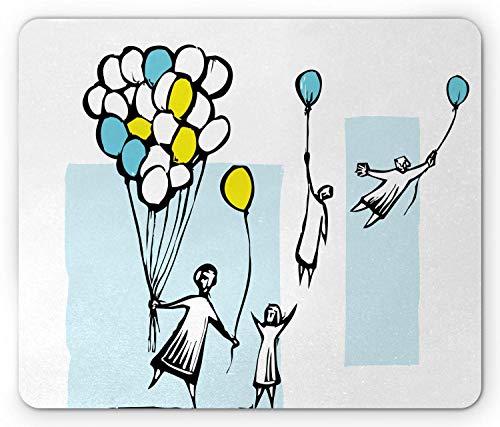 Doodle muismat, HDrawn kinderen vliegen weg naar de hemel door blauwe ballonnen, muismat houtskool grijs