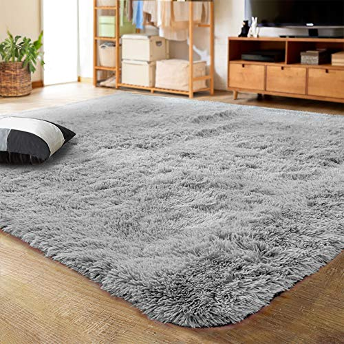 LOCHAS Ultra Soft Indoor Modern Area Rugs Fluffy Living Room Carpets for Children Bedroom Home Decor Nursery Rug Girls 5.3x7.5 Feet, Gray