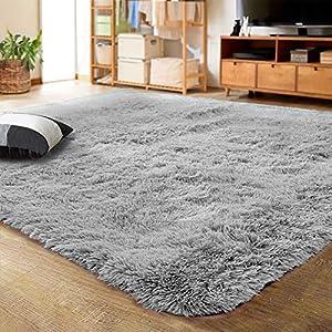 LOCHAS Ultra Soft Indoor Modern Area Rugs Fluffy Living Room Carpets for Children Bedroom Home Decor Nursery Rug 5.3×7.5 Feet, Gray