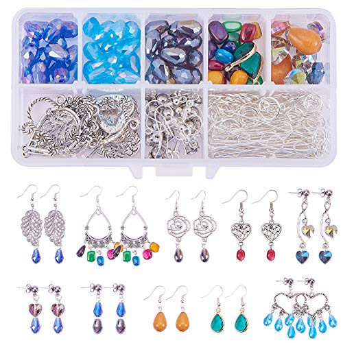 SUNNYCLUE 1 Set DIY 10 Pairs Chandelier Earrings Jewelry Making Starter Kit Include Chandelier Components Connector Charm Pendants Shell Heart Beads Earring Hooks and Jewelry Findings