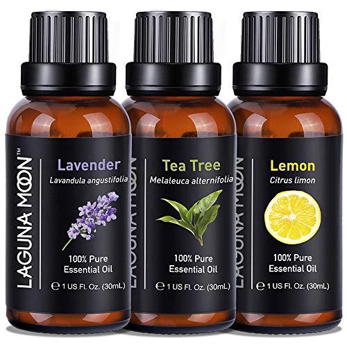 Lagunamoon Essential Oils Set Top 3 - Essential Oils 30mL/Bottle, 90mL/Set- Include Lavender, Tea Tree, Lemon Oils, Aromatherapy Oils for Diffuser, Humidifier, Bath, Skin & Hair Care