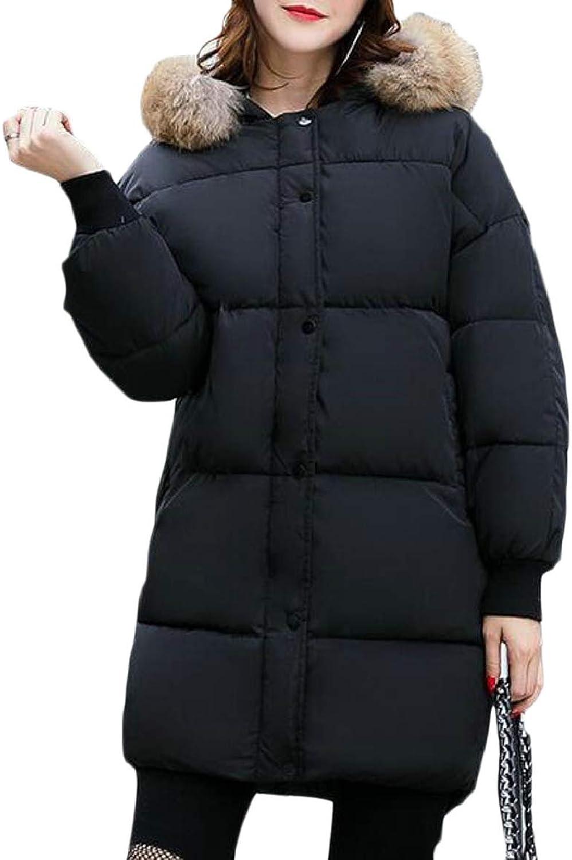 PujinggeCA Women Puffer Down Coat with Faux Fur Hood Thicker Down Jacket