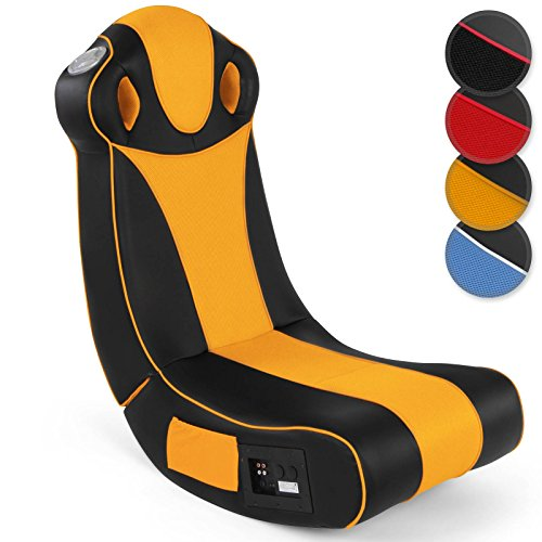 Soundsessel in diversen Farben | aus Kunstleder, zusammenklappbar, mit Lautsprecher, Surround und Subwoofer | Soundchair, Multimediasessel, Musiksessel, Musikstuhl, Gaming Chair,Music, Rocker(Orange)