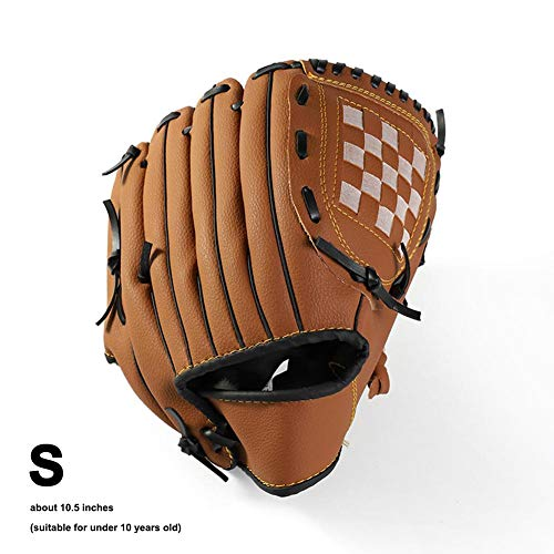 Exuberanter Guante de béisbol para niños, Mano Izquierda, Guante de béisbol de béisbol de Cuero para Principiantes, 10.5 pulgadas, Color marrón, tamaño Small